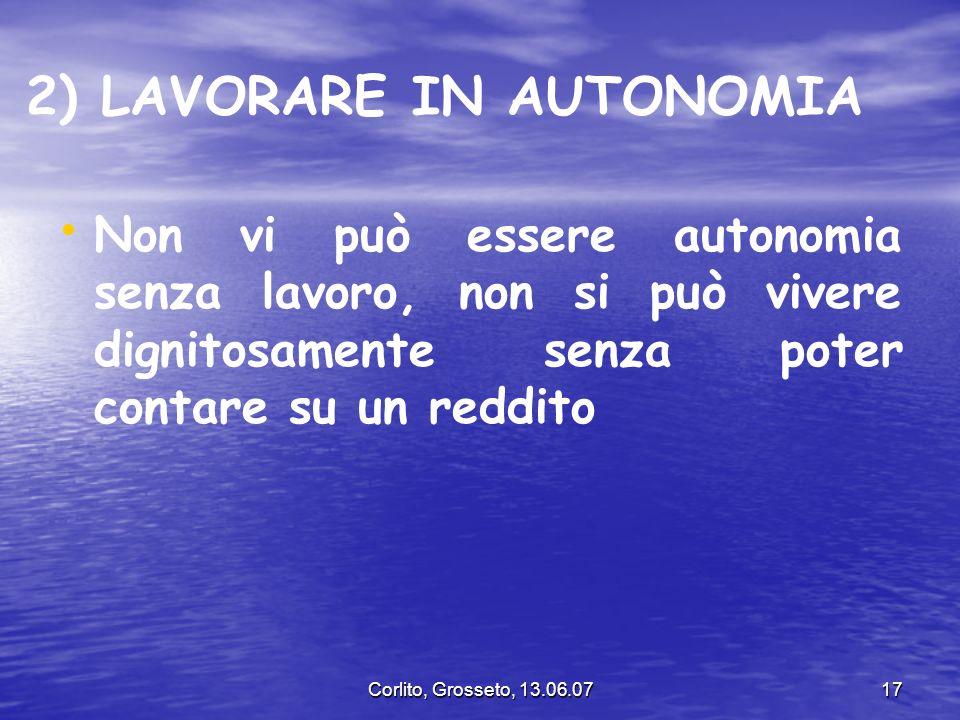 2) LAVORARE IN AUTONOMIA