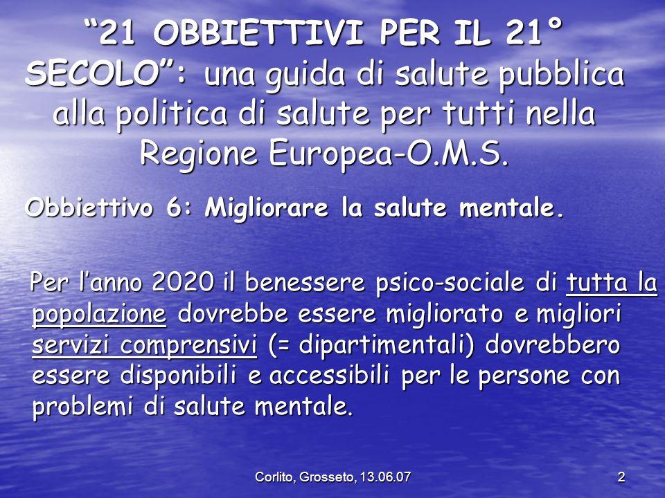 21 OBBIETTIVI PER IL 21° SECOLO : una guida di salute pubblica alla politica di salute per tutti nella Regione Europea-O.M.S.
