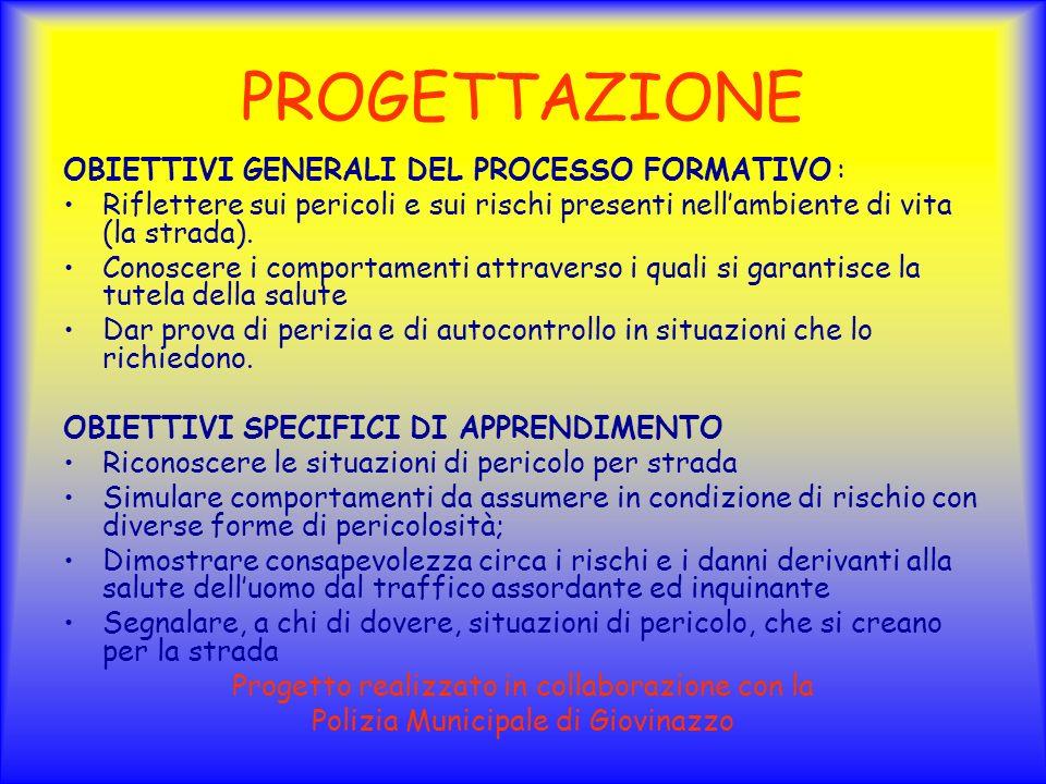 PROGETTAZIONE OBIETTIVI GENERALI DEL PROCESSO FORMATIVO :