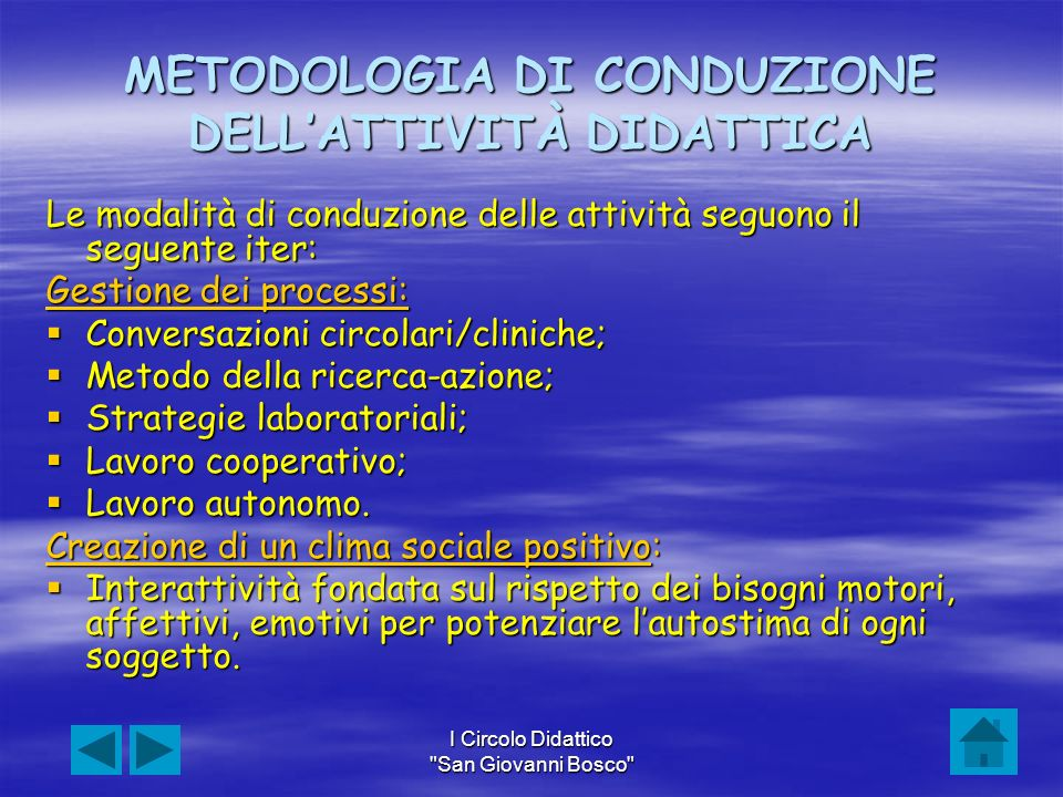 METODOLOGIA DI CONDUZIONE DELL'ATTIVITÀ DIDATTICA