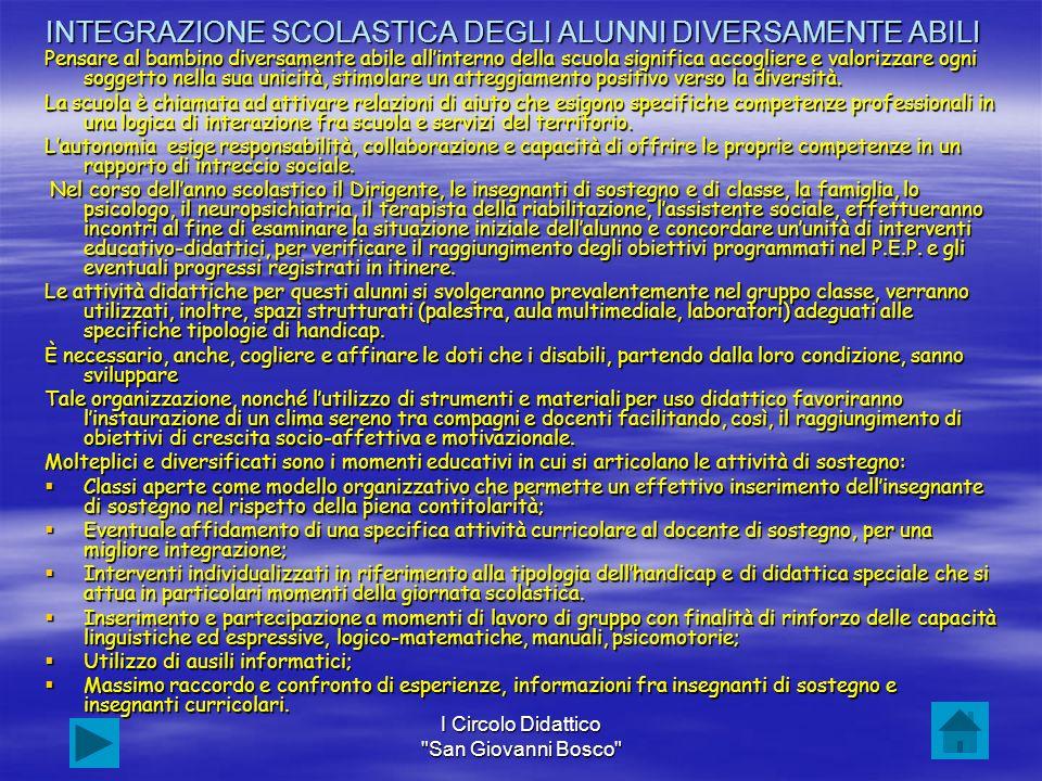 INTEGRAZIONE SCOLASTICA DEGLI ALUNNI DIVERSAMENTE ABILI