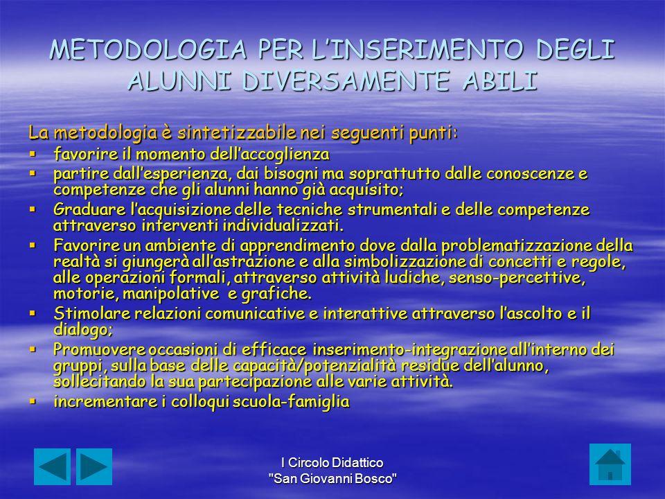 METODOLOGIA PER L'INSERIMENTO DEGLI ALUNNI DIVERSAMENTE ABILI