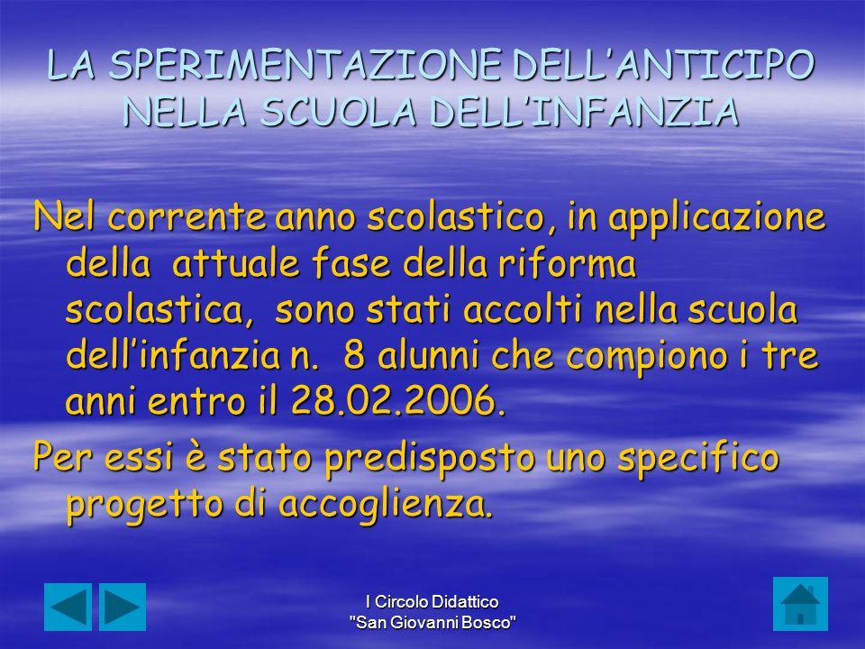 LA SPERIMENTAZIONE DELL'ANTICIPO NELLA SCUOLA DELL'INFANZIA