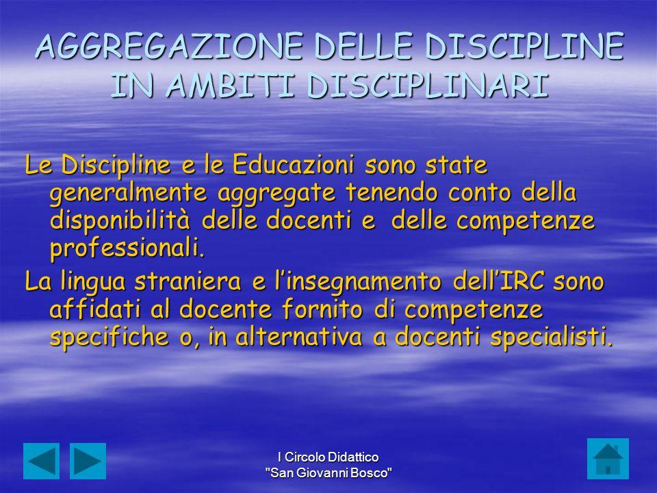 AGGREGAZIONE DELLE DISCIPLINE IN AMBITI DISCIPLINARI