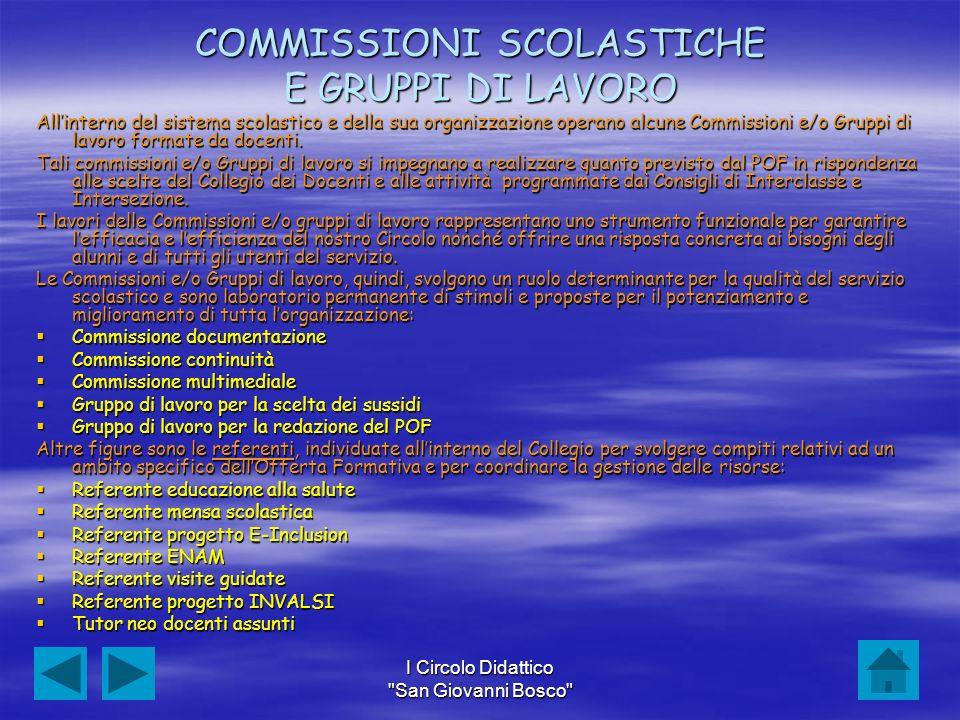 COMMISSIONI SCOLASTICHE E GRUPPI DI LAVORO