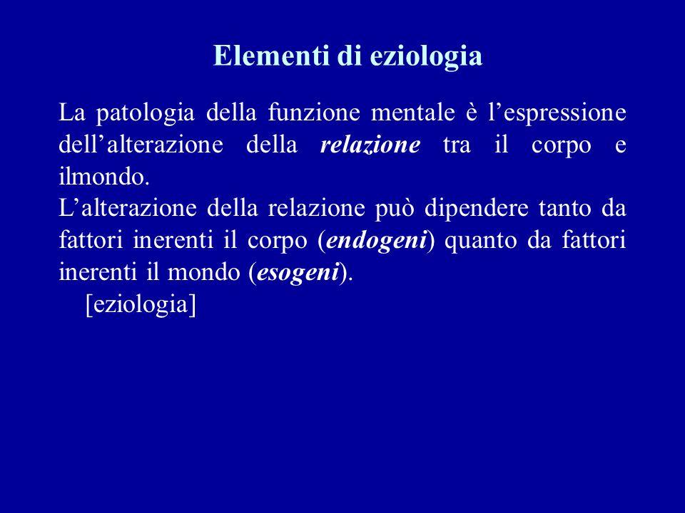 Elementi di eziologia La patologia della funzione mentale è l'espressione dell'alterazione della relazione tra il corpo e ilmondo.
