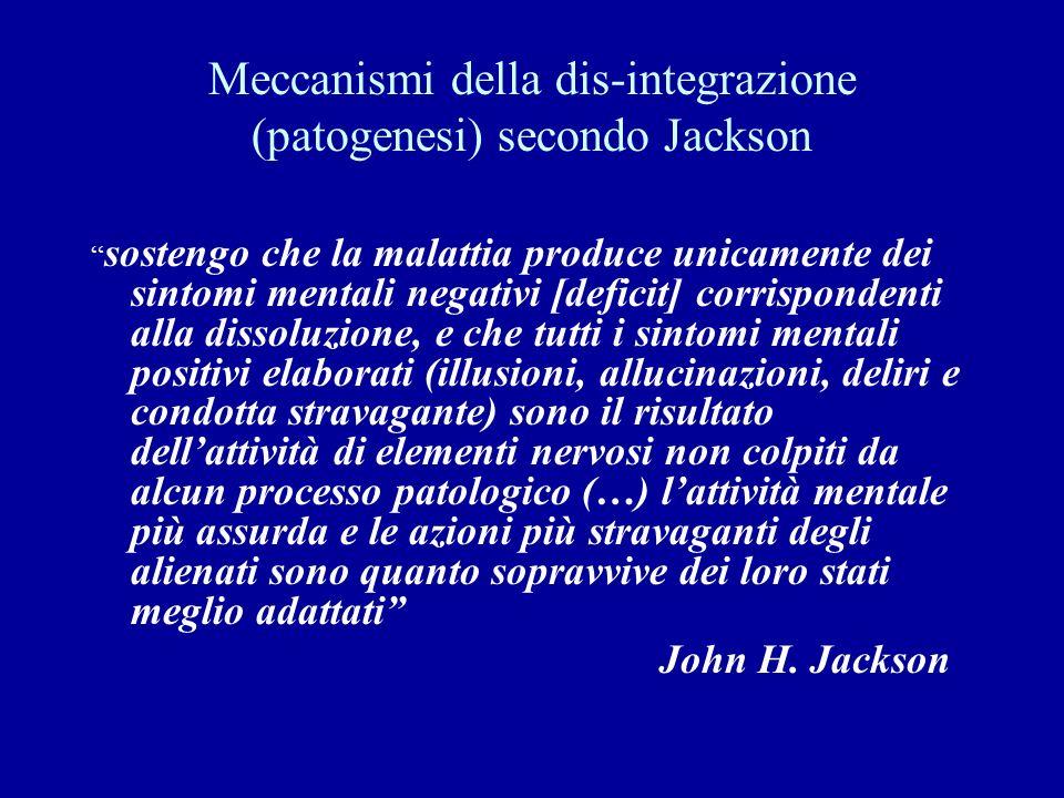 Meccanismi della dis-integrazione (patogenesi) secondo Jackson