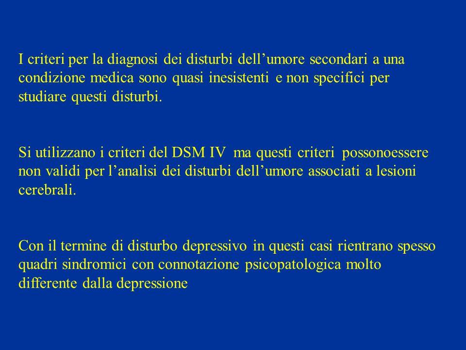 I criteri per la diagnosi dei disturbi dell'umore secondari a una condizione medica sono quasi inesistenti e non specifici per studiare questi disturbi.