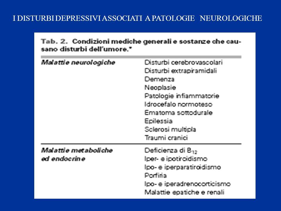 I DISTURBI DEPRESSIVI ASSOCIATI A PATOLOGIE NEUROLOGICHE