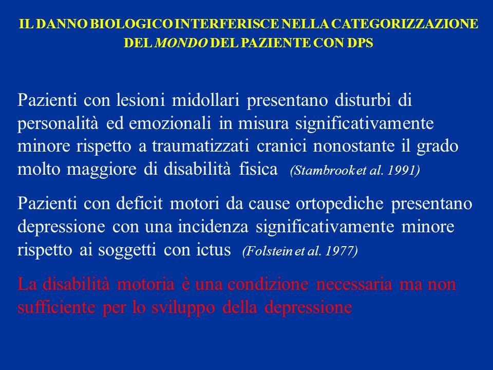 IL DANNO BIOLOGICO INTERFERISCE NELLA CATEGORIZZAZIONE DEL MONDO DEL PAZIENTE CON DPS