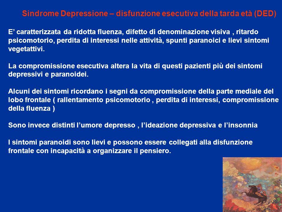 Sindrome Depressione – disfunzione esecutiva della tarda età (DED)