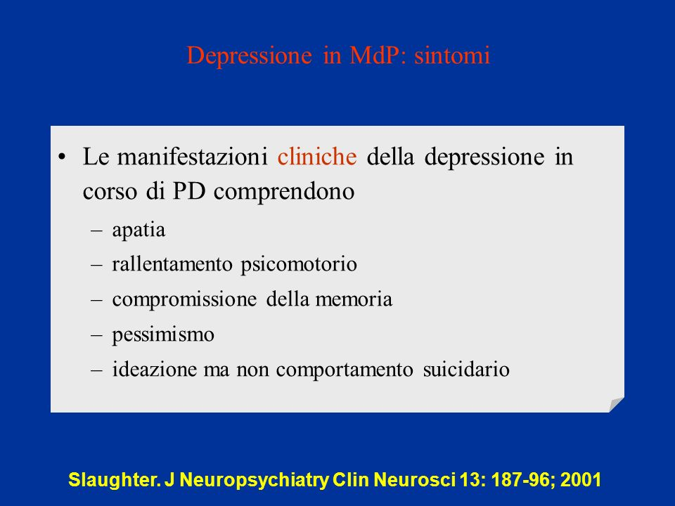 Depressione in MdP: sintomi