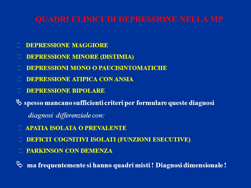 QUADRI CLINICI DI DEPRESSIONE NELLA MP