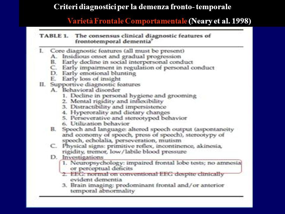 Criteri diagnostici per la demenza fronto- temporale