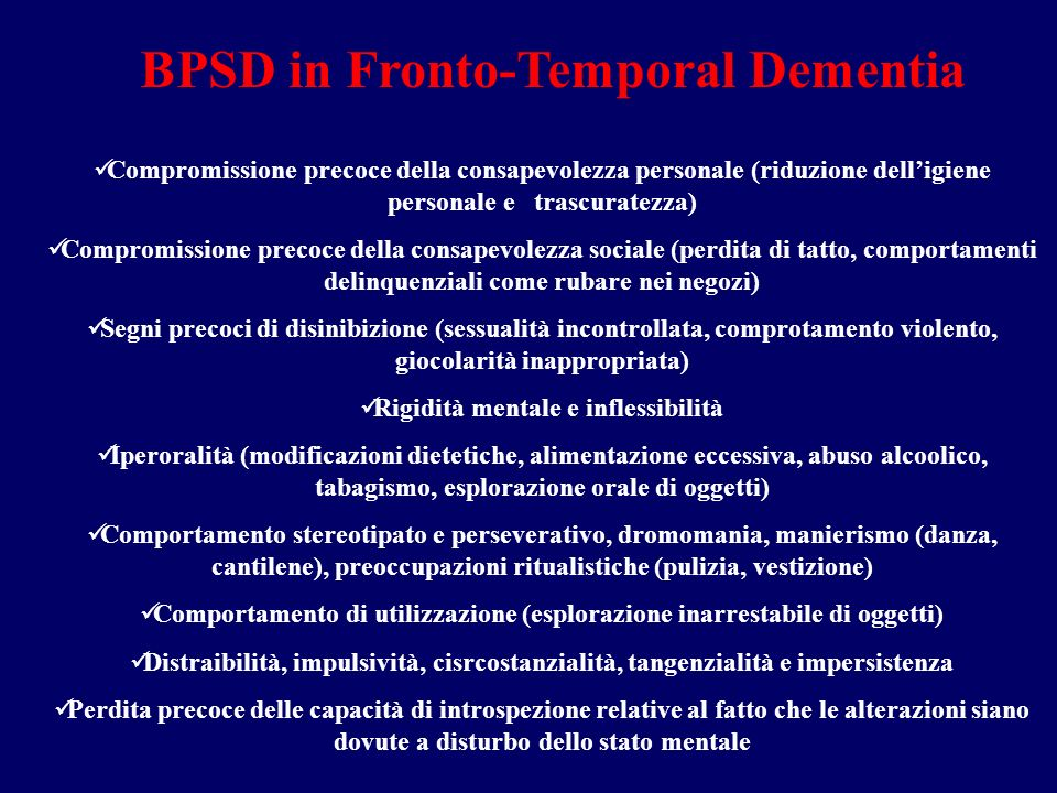 BPSD in Fronto-Temporal Dementia