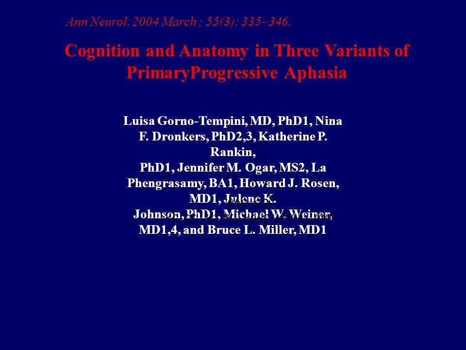 Cognition and Anatomy in Three Variants of PrimaryProgressive Aphasia