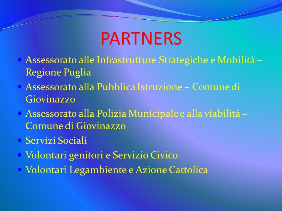 PARTNERS Assessorato alle Infrastrutture Strategiche e Mobilità – Regione Puglia. Assessorato alla Pubblica Istruzione – Comune di Giovinazzo.