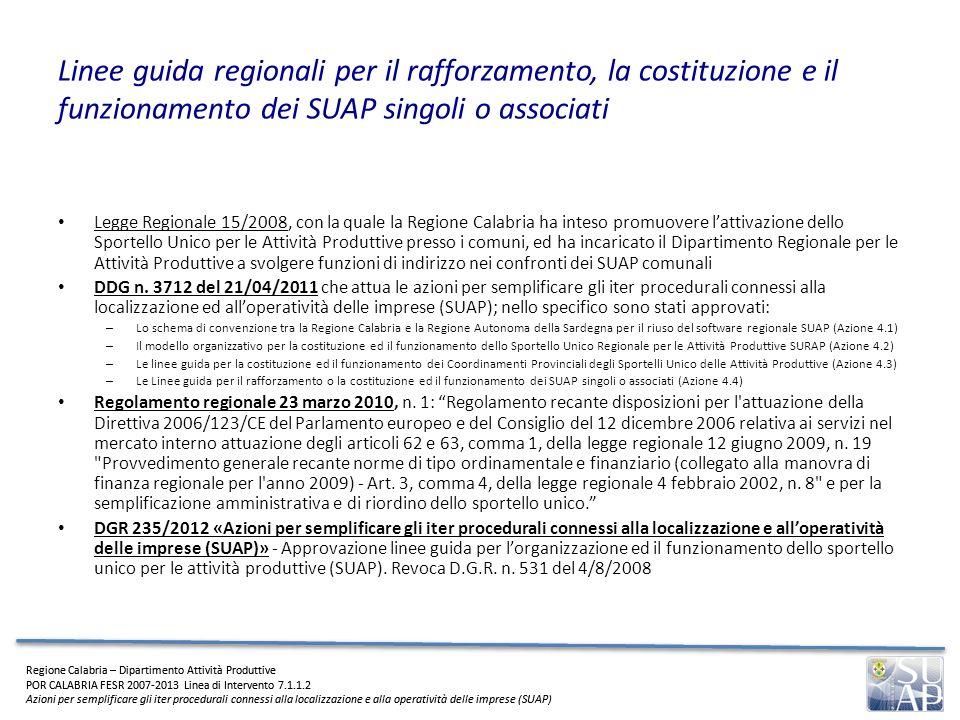 Linee guida regionali per il rafforzamento, la costituzione e il funzionamento dei SUAP singoli o associati