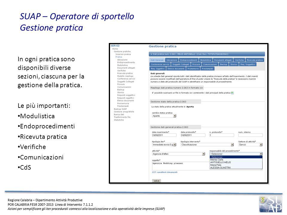 SUAP – Operatore di sportello Gestione pratica