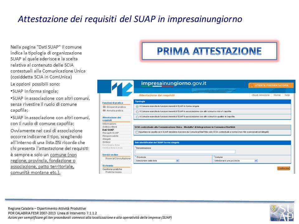 Attestazione dei requisiti del SUAP in impresainungiorno