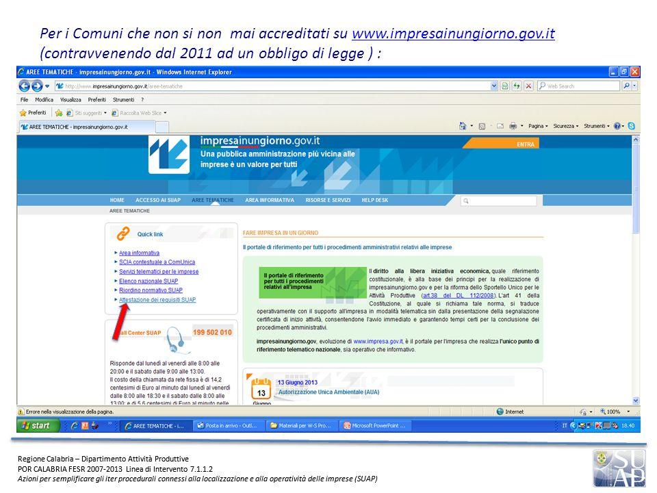 Per i Comuni che non si non mai accreditati su www. impresainungiorno