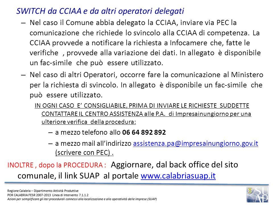 SWITCH da CCIAA e da altri operatori delegati