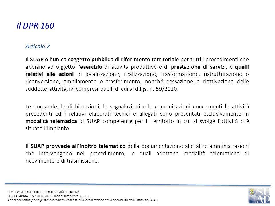 Il DPR 160 Articolo 2.