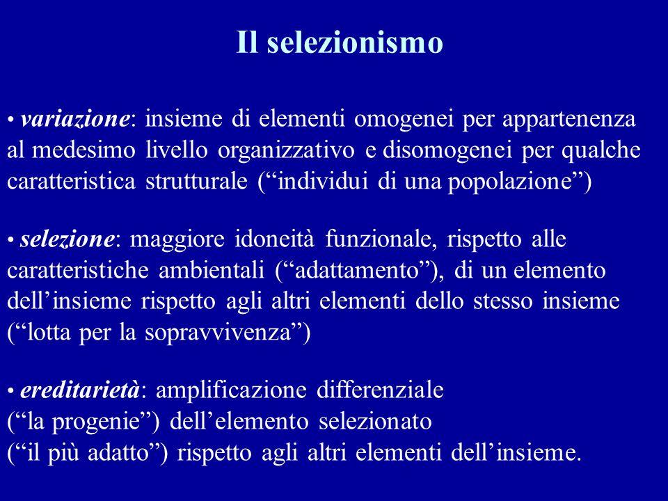 Il selezionismo variazione: insieme di elementi omogenei per appartenenza. al medesimo livello organizzativo e disomogenei per qualche.