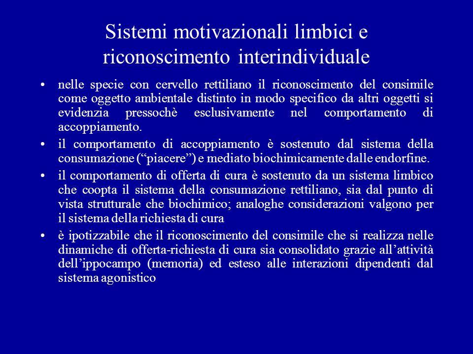 Sistemi motivazionali limbici e riconoscimento interindividuale
