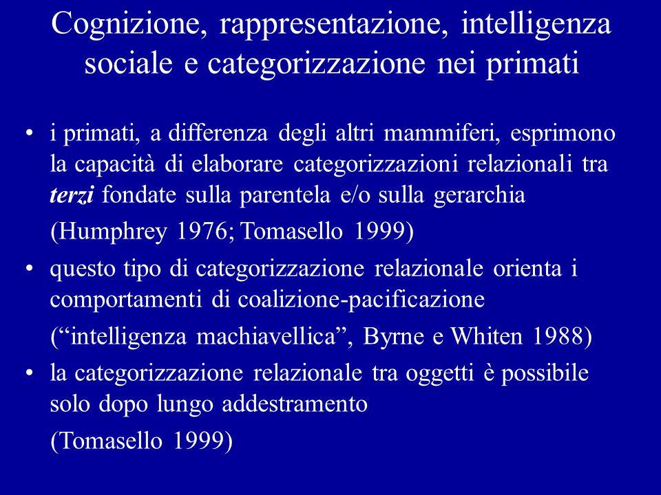 Cognizione, rappresentazione, intelligenza sociale e categorizzazione nei primati