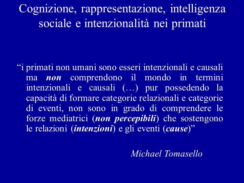 Cognizione, rappresentazione, intelligenza sociale e intenzionalità nei primati