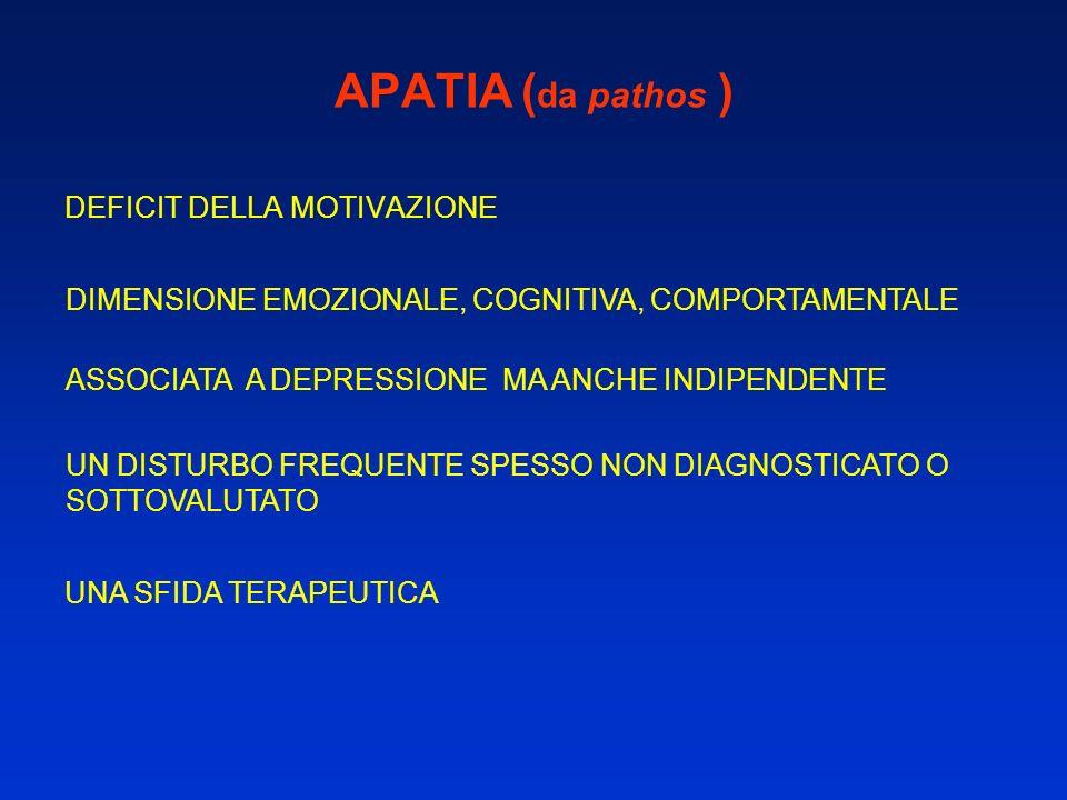 APATIA (da pathos ) DEFICIT DELLA MOTIVAZIONE