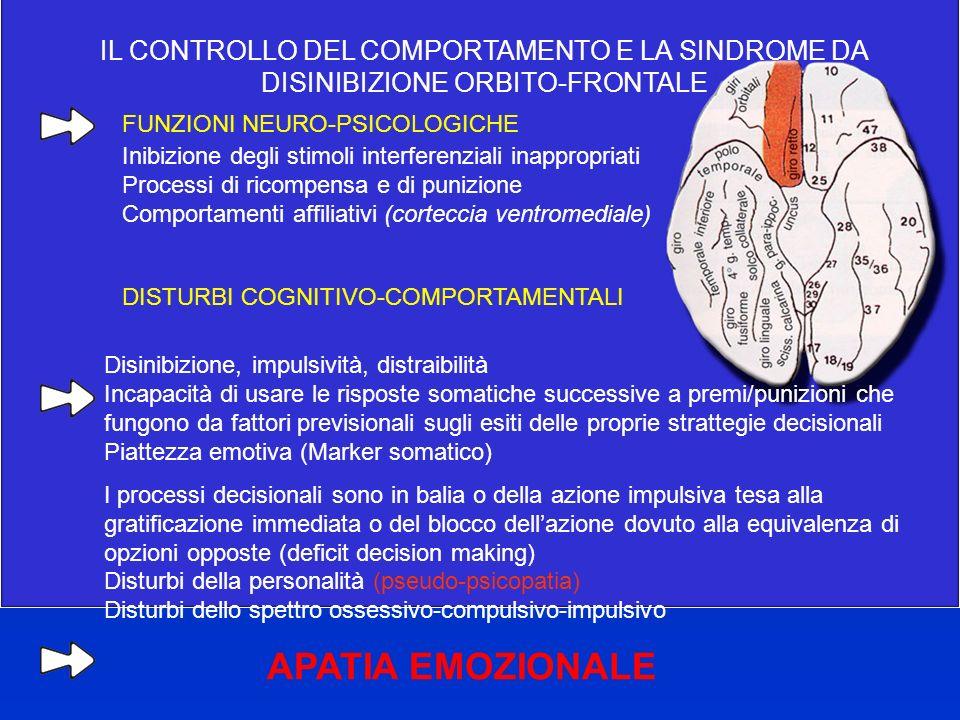 APATIA EMOZIONALE IL CONTROLLO DEL COMPORTAMENTO E LA SINDROME DA