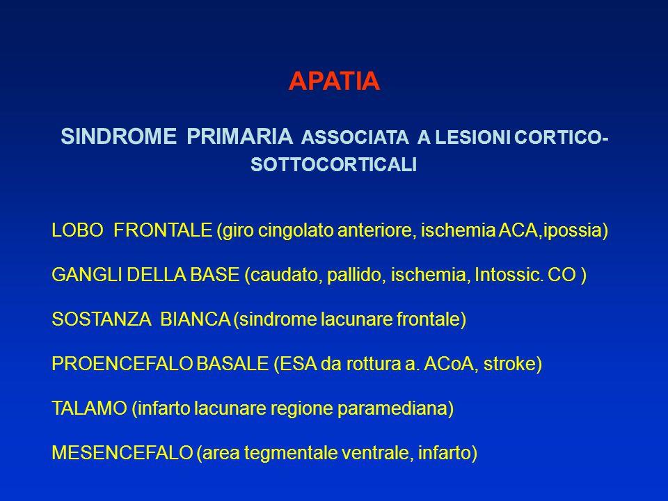 SINDROME PRIMARIA ASSOCIATA A LESIONI CORTICO-SOTTOCORTICALI