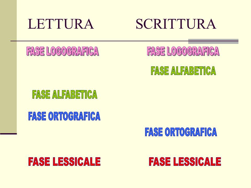 LETTURA SCRITTURA FASE LOGOGRAFICA FASE LOGOGRAFICA FASE ALFABETICA
