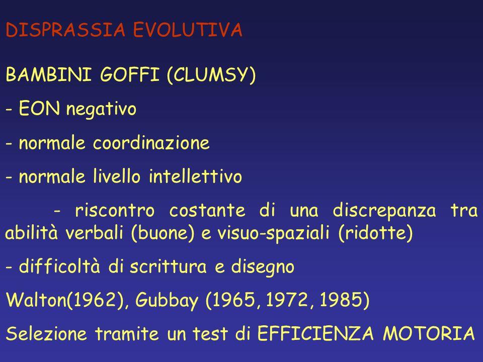 DISPRASSIA EVOLUTIVA BAMBINI GOFFI (CLUMSY) EON negativo. normale coordinazione. normale livello intellettivo.
