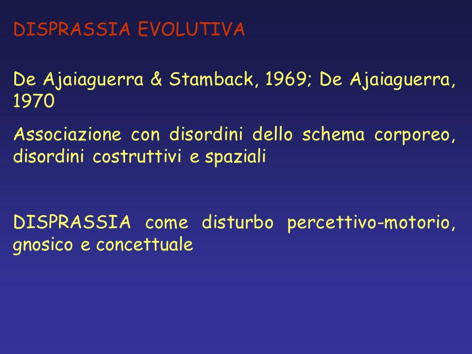 DISPRASSIA EVOLUTIVA De Ajaiaguerra & Stamback, 1969; De Ajaiaguerra, 1970.