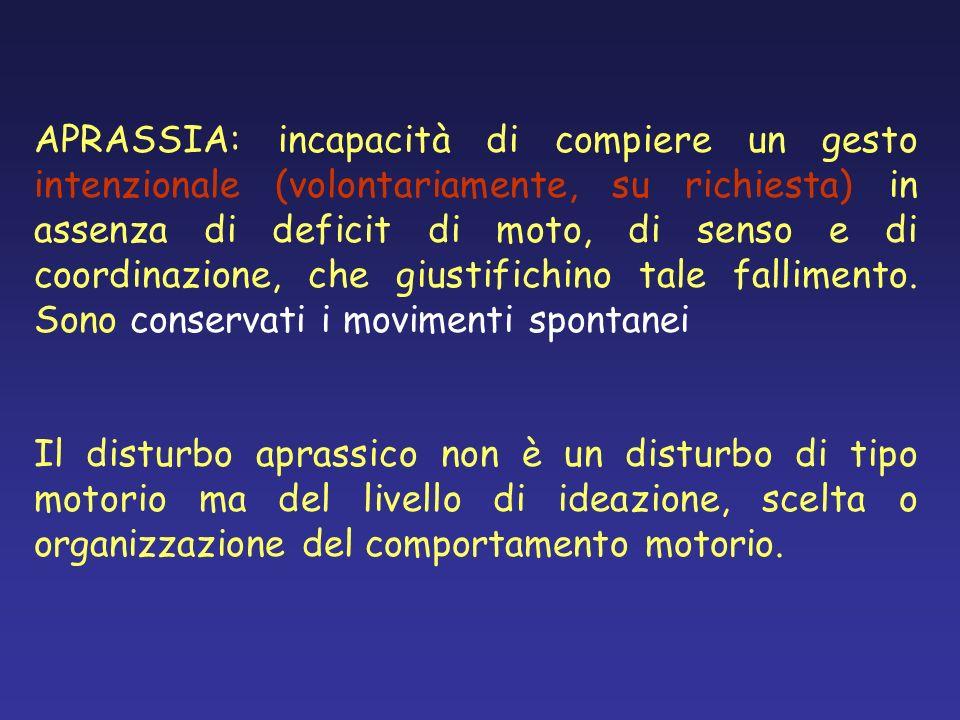 APRASSIA: incapacità di compiere un gesto intenzionale (volontariamente, su richiesta) in assenza di deficit di moto, di senso e di coordinazione, che giustifichino tale fallimento. Sono conservati i movimenti spontanei
