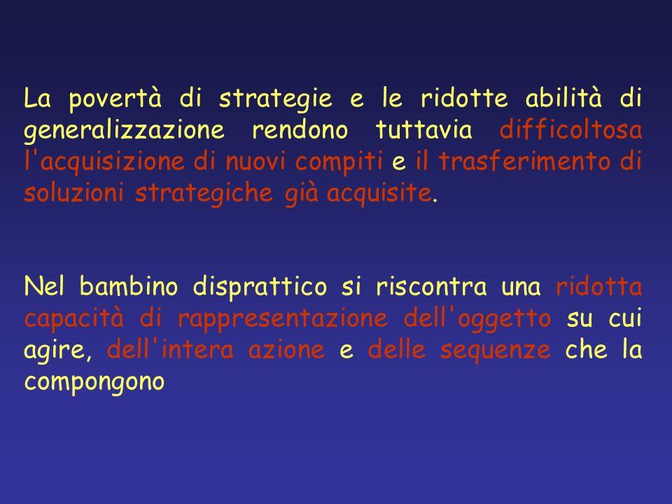 La povertà di strategie e le ridotte abilità di generalizzazione rendono tuttavia difficoltosa l acquisizione di nuovi compiti e il trasferimento di soluzioni strategiche già acquisite.