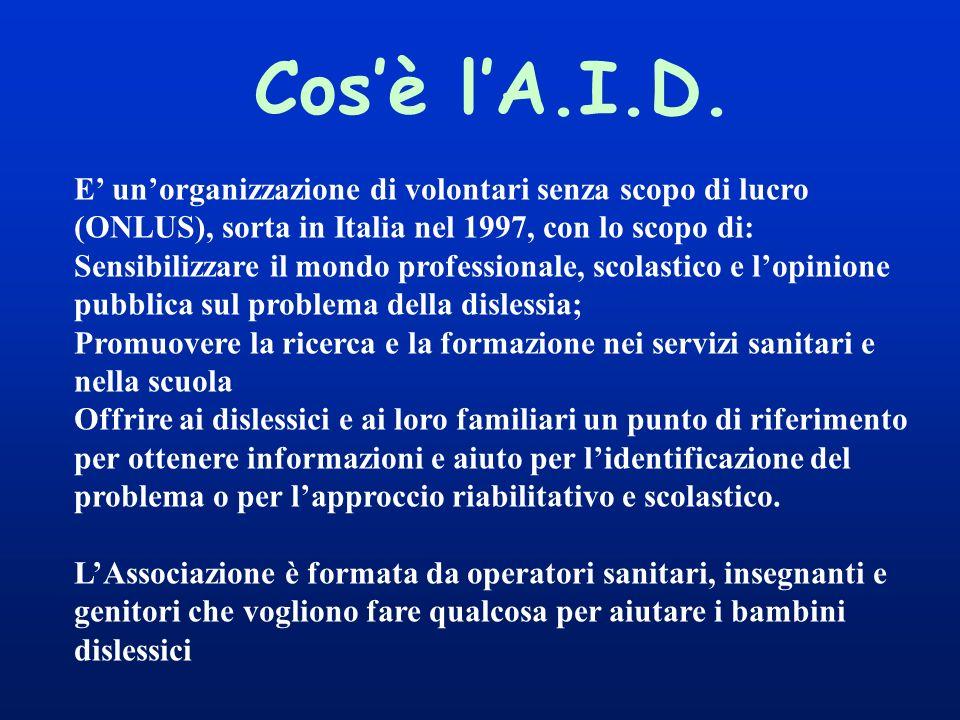 Cos'è l'A.I.D. E' un'organizzazione di volontari senza scopo di lucro (ONLUS), sorta in Italia nel 1997, con lo scopo di: