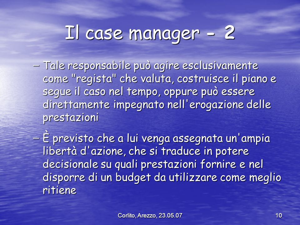 Il case manager - 2