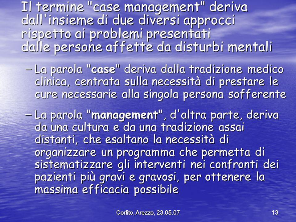 Il termine case management deriva dall insieme di due diversi approcci rispetto ai problemi presentati dalle persone affette da disturbi mentali