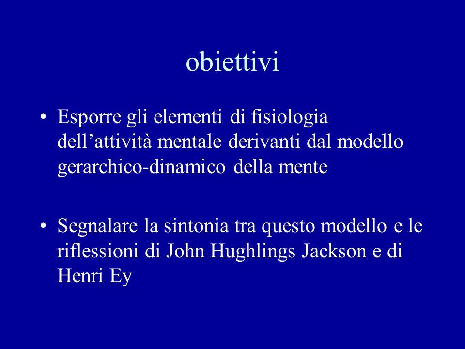 obiettivi Esporre gli elementi di fisiologia dell'attività mentale derivanti dal modello gerarchico-dinamico della mente.