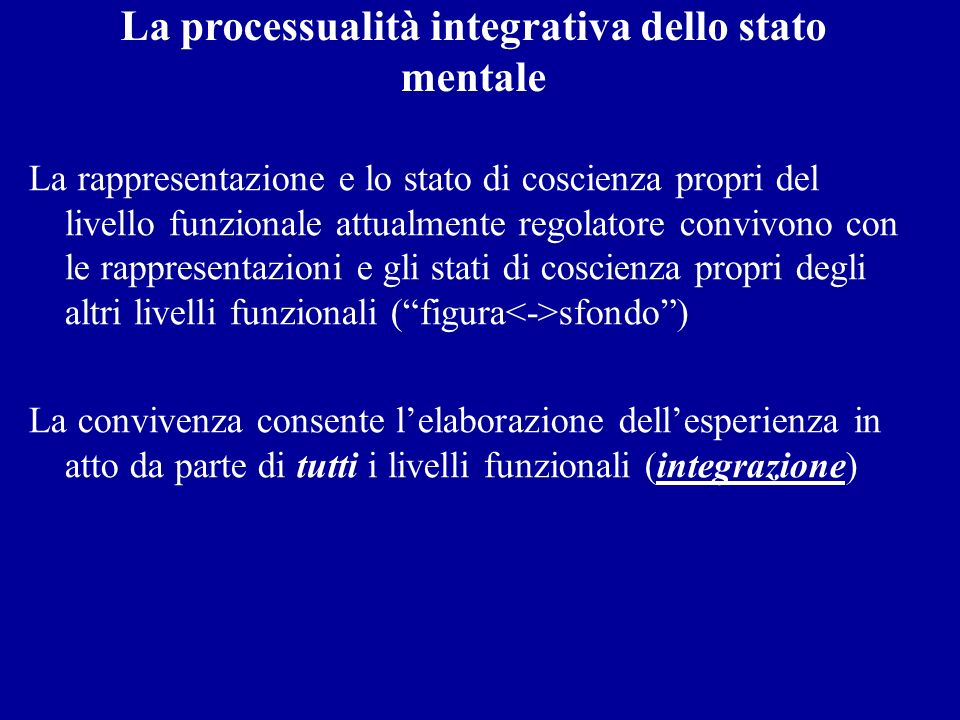 La processualità integrativa dello stato mentale
