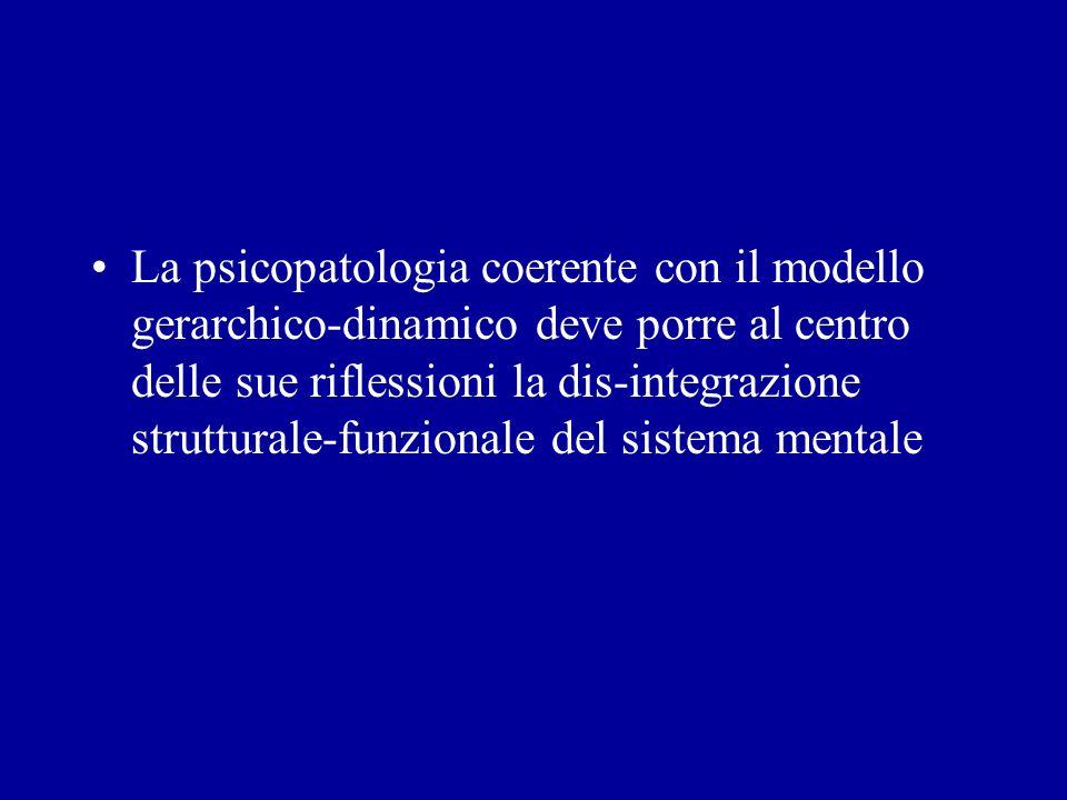 La psicopatologia coerente con il modello gerarchico-dinamico deve porre al centro delle sue riflessioni la dis-integrazione strutturale-funzionale del sistema mentale