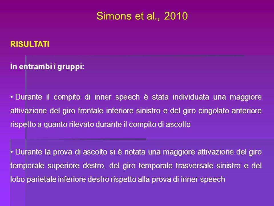 Simons et al., 2010 RISULTATI In entrambi i gruppi: