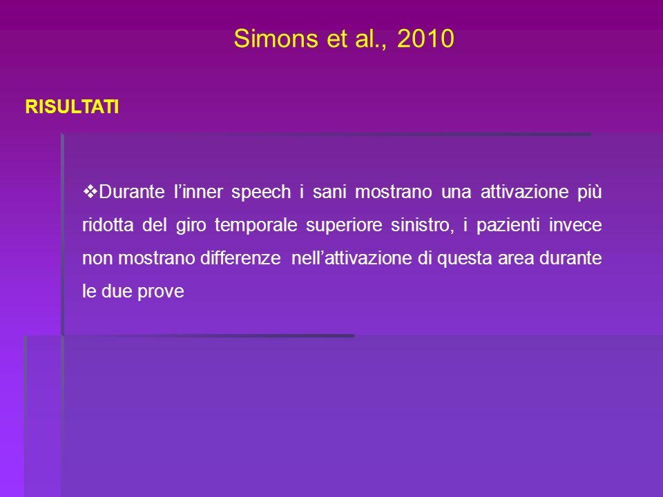 Simons et al., 2010 RISULTATI.