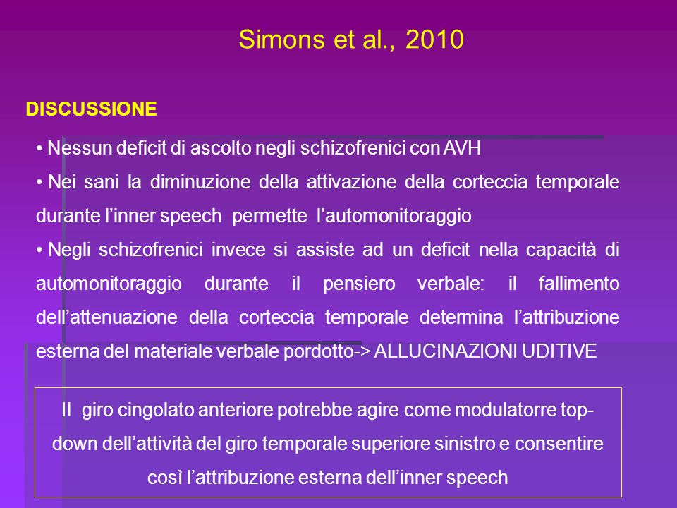 Simons et al., 2010 DISCUSSIONE