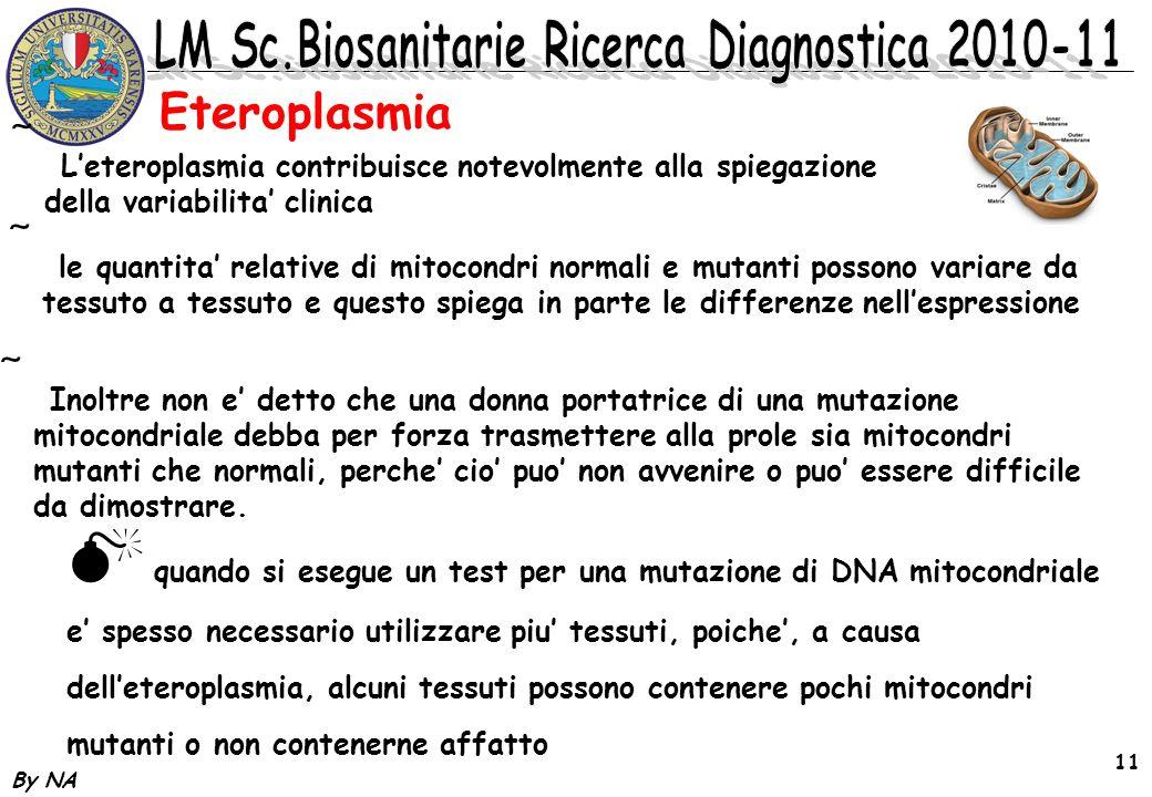 Eteroplasmia L'eteroplasmia contribuisce notevolmente alla spiegazione della variabilita' clinica.