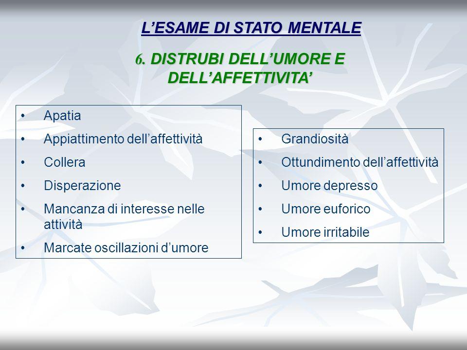 L'ESAME DI STATO MENTALE 6. DISTRUBI DELL'UMORE E DELL'AFFETTIVITA'